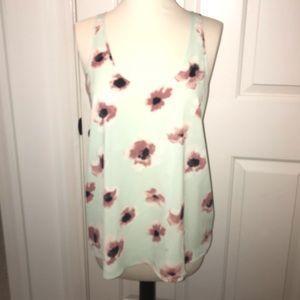 Frenchi teal floral tank top